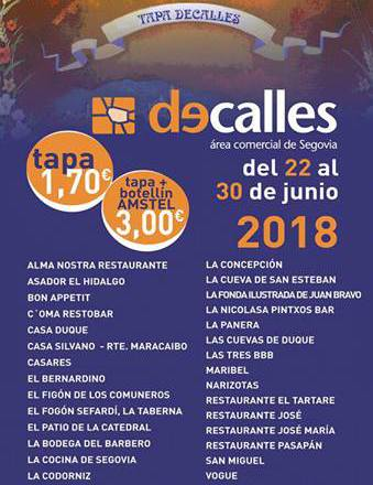 XV Concurso de Tapas DeCalles 2018 en Segovia